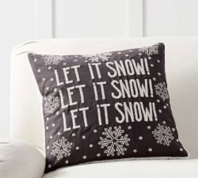 Pottery Barn Let It Snow Embroidered Sherpa Back P