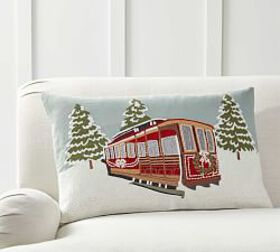 Pottery Barn Snowfall Cable Car Embroidered Pillow