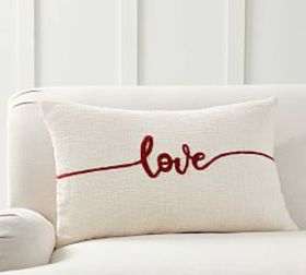 Pottery Barn Sentimental Love Embroidered Pillow C