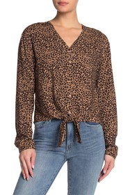 C & C California Animal Print Tie Hem V-Neck Blous