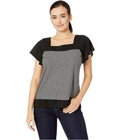 Vince Camuto Short Sleeve Squared Neck Layered Top