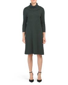 NINE WEST Cowl Neck Fit & Flare Sweater Dress