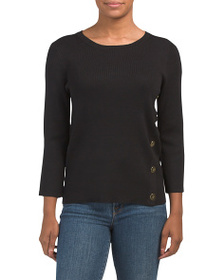 CABLE & GAUGE Pullover With Front Asymmetric Trim