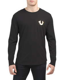 TRUE RELIGION Metallic Long Sleeve Crew Neck Tee