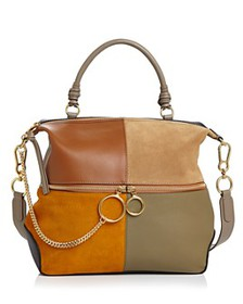 See by Chloé - Emy Large Color-Block Leather & Sue