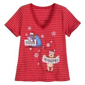 Disney Winnie the Pooh Striped Holiday T-Shirt for