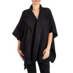 T TAHARI Ribbed Notched Collar Open Front Bat Wing