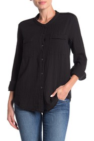 Splendid Woven Patch Pocket Button Down Shirt