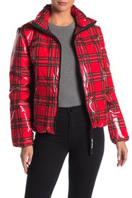 Juicy Couture Glossy Zip Front Puffer Jacket