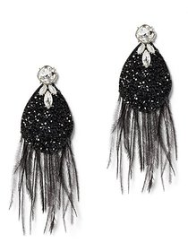 Faux-Stone & Feather Statement Drop Earring - New