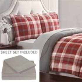 LONDON FOG Red & Gray Plaid Twin 5-Piece Bedding S