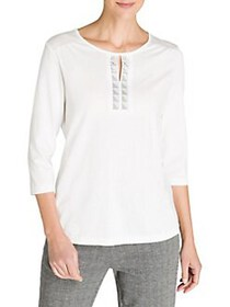 Olsen Cosy Mood Cut-Out Cotton-Blend Top OFF WHITE