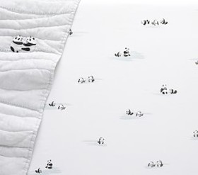 Pottery Barn Organic Panda Fitted Crib Sheet