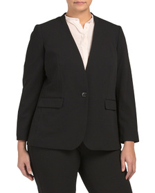 NINE WEST Plus Drapey Stretch Crepe Jacket