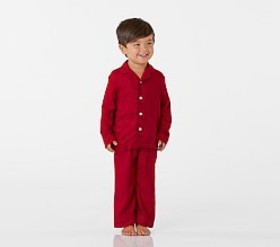 Pottery Barn Red Solid Flannel Pajama