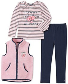 Toddler Girls 3-Pc. Fleece Vest, Striped Top & Leg