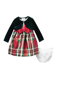 GERSON & GERSON Christmas Plaid Dress with Green B