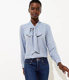 Chambray Tie Neck Blouse