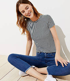 Striped Ribbed Shoulder Button Tee