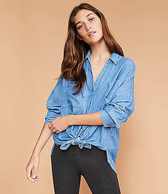 Lou & Grey Chambray Tie Front Shirt