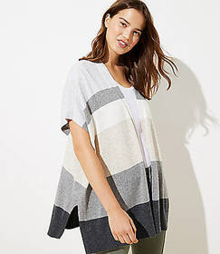 Colorblock Open Poncho Sweater