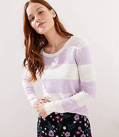 Striped Double Scoop Neck Sweater