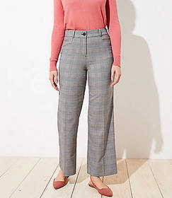 Petite Plaid High Waist Wide Leg Pants in Curvy Fi
