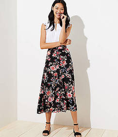 Floral Button Front Midi Skirt