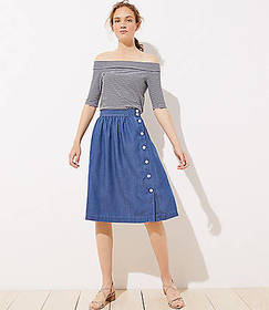 Side Button Chambray Skirt