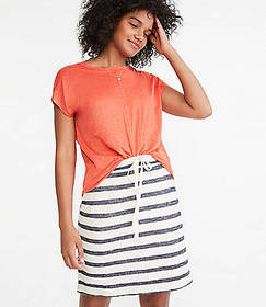 Lou & Grey Striped Terry Drawstring Pocket Skirt