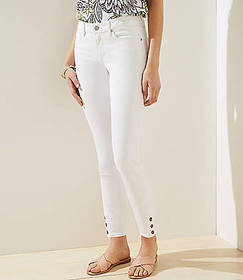 Curvy Button Cuff Slim Pocket Skinny Jeans in Whit