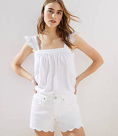 Scalloped Frayed Denim Shorts in White