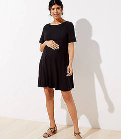 Maternity Covered Button Swing Dress