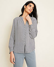 Houndstooth Ruffle Cuff V-Neck Blouse