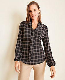 Plaid Matte Jersey Tie Neck Blouse