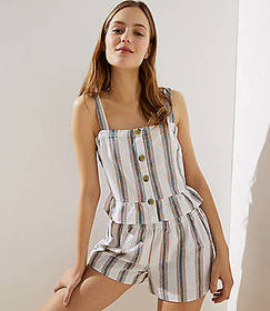 LOFT Beach Striped Button Peplum Top