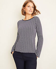 Houndstooth Seasonless Yarn Boatneck Sweater