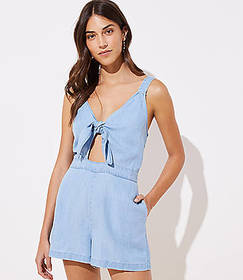 LOFT Beach Chambray Tie Cutout Romper