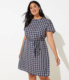 LOFT Plus Plaid Ruffle Neck Tie Waist Dress