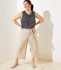 LOFT Plus Tie Waist Wide Leg Pants