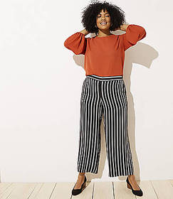 LOFT Plus Striped Fluid Wide Leg Pants