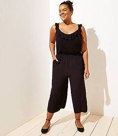 LOFT Plus Ruffle Neck Mixed Media Jumpsuit