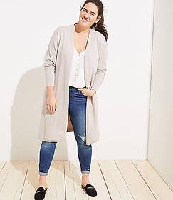 LOFT Plus Side Slit Open Cardigan