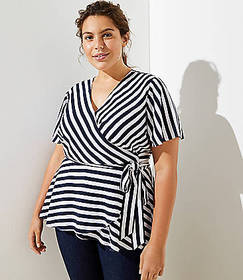 LOFT Plus Striped Dolman Wrap Blouse