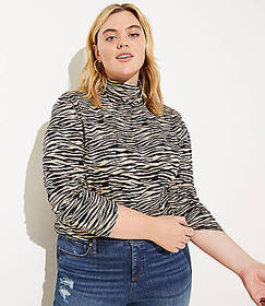 LOFT Plus Tiger Stripe Textured Turtleneck Top