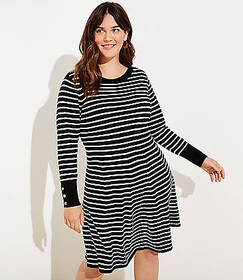 LOFT Plus Striped Flare Sweater Dress