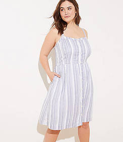 LOFT Plus Striped Button Down Flare Dress