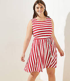 LOFT Plus Striped Tie Waist Flare Dress