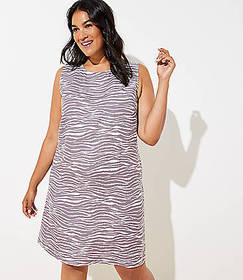 LOFT Plus Zebra Linen Blend Pocket Dress