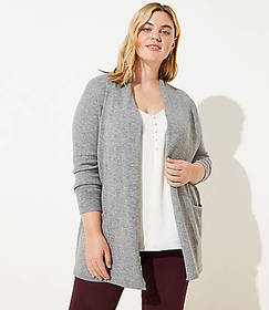 LOFT Plus Shawl Collar Open Cardigan